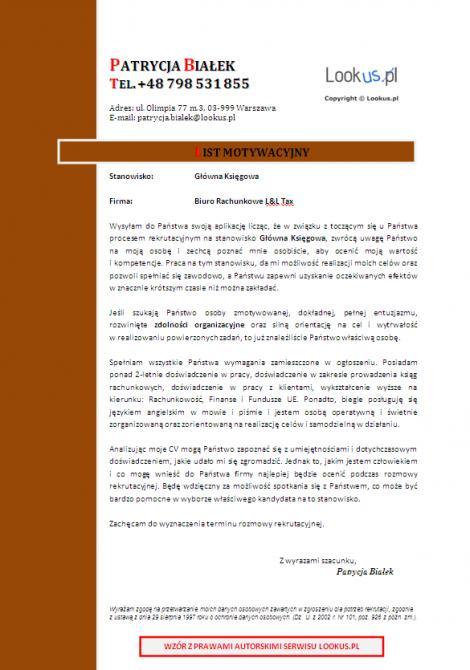 List motywacyjny, CV