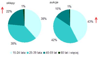 Profil polskich e-klientów - podział według wieku (źródło: NetTrack SMG/KRC, styczeń-listopad 2007).
