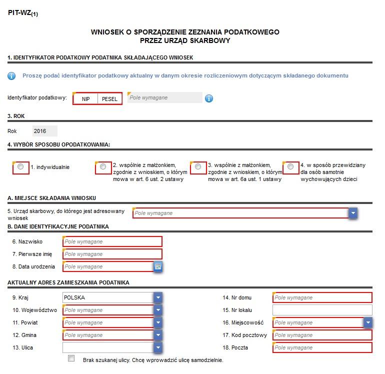 Fragment wniosku PIT-WZ na Portalu Podatkowym