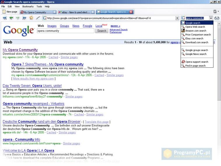 Скриншот теперь уже окончательно бесплатного браузера Opera 8.5.