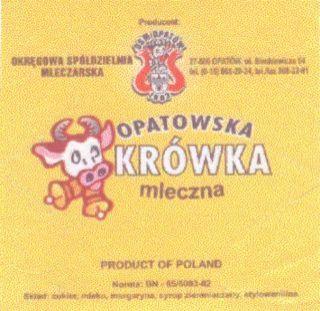 Logo  OSMOPAT�W OPATOWSKA KR�WKA mleczna, znak towarowy