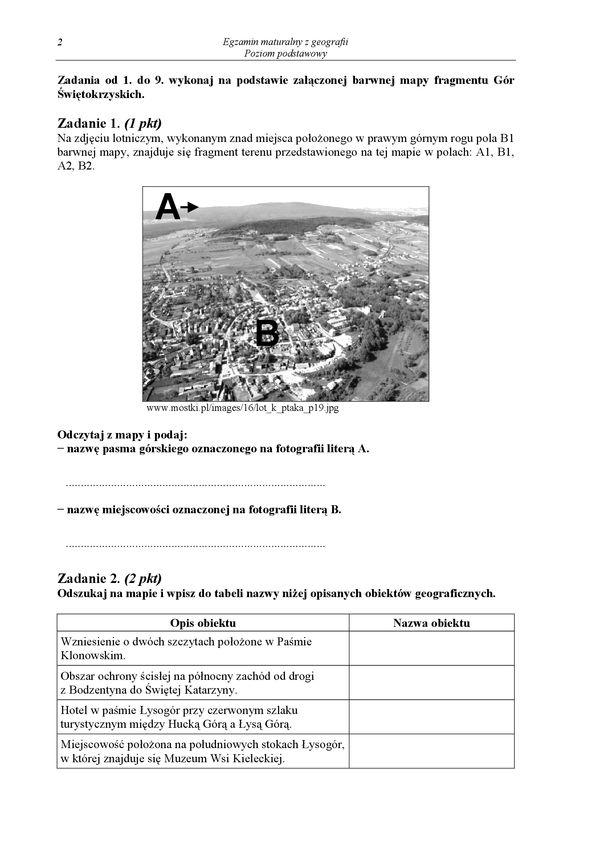 matura geografia styczen 2009