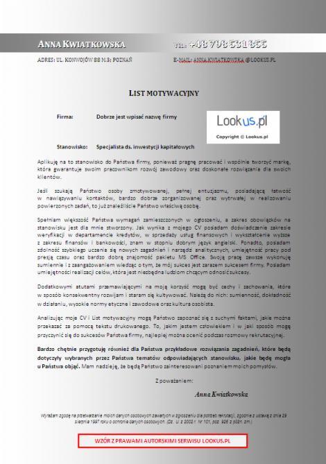 List Motywacyjny Specjalista