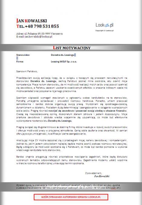 List Motywacyjny Doradca Ds Leasingu