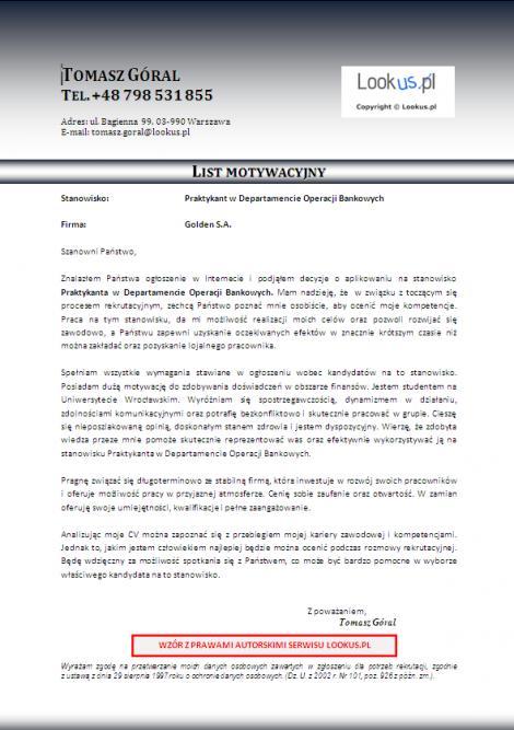 List Motywacyjny Praktykant