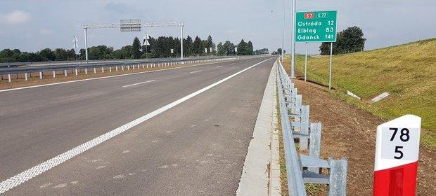 Fragment 12-kilometrowego odcinka drogi ekspresowej S7 Ostróda Południe – Rychnowo