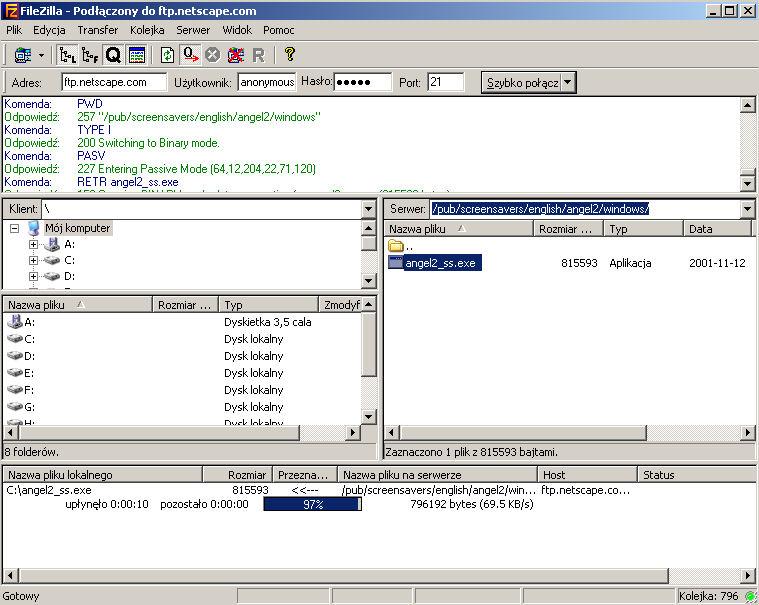 filezilla - darmowy serwer ftp cba.pl