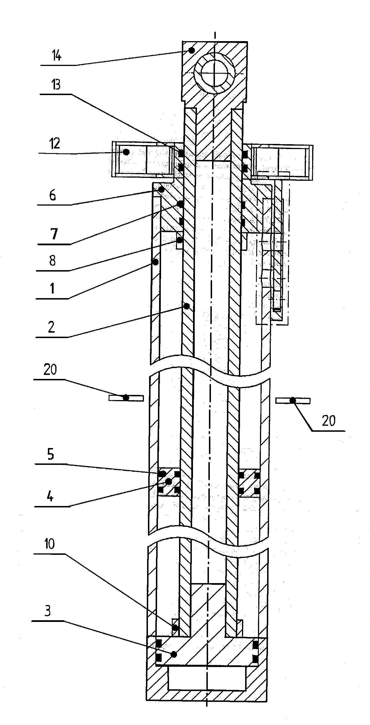 Siłownik hydrauliczny lub pneumatyczny o dużym skoku